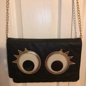 Betsey Johnson black googly eyed purse